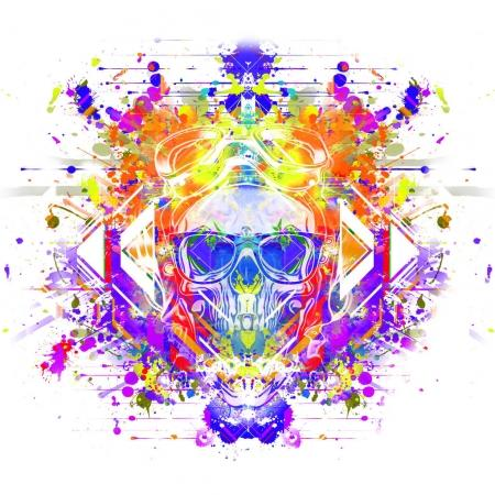 Colorful skull in glasses