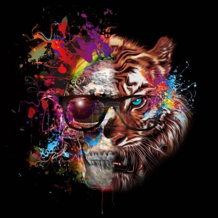Skull and tiger in glasses on colored background