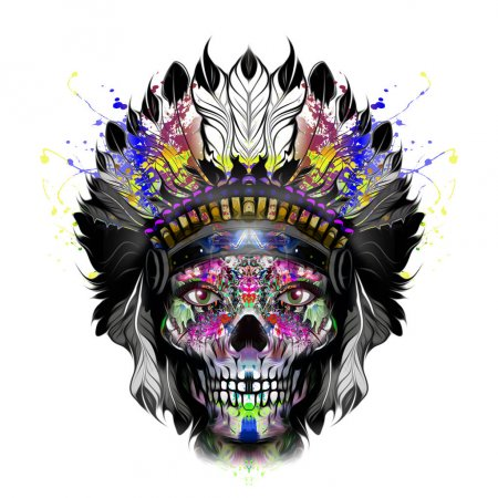 Colored skull with Native American Headdress