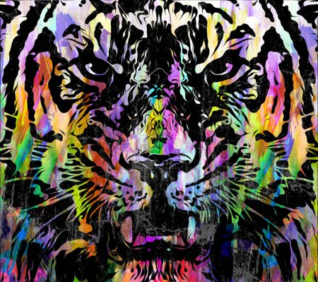 Photo for Abstract multicolored splashes with tiger, digital illustration - Royalty Free Image