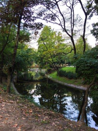 Photo pour Magnifique paysage avec rivière bleue dans le parc - image libre de droit