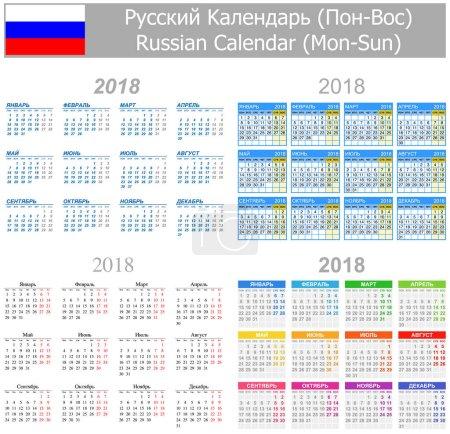 2018 Russian Mix Calendar Mon-Sun