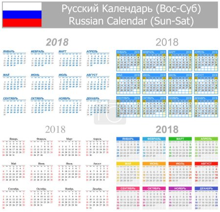 2018 Russian Mix Calendar Sun-Sat