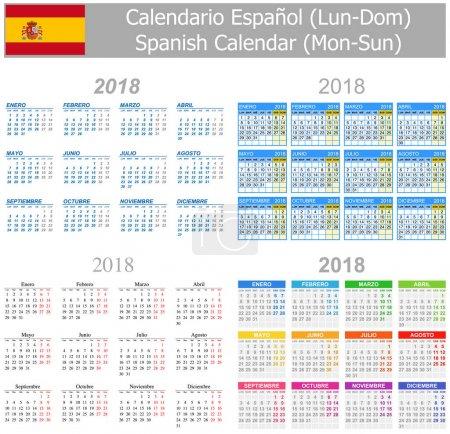 2018 Spanish Mix Calendar Mon-Sun