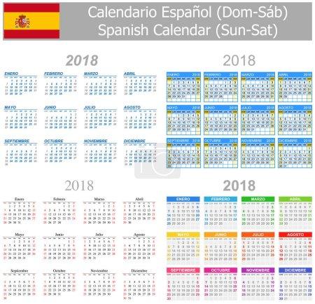 2018 Spanish Mix Calendar Sun-Sat