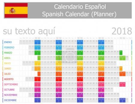 2018 Spanish Planner Calendar with Horizontal Months