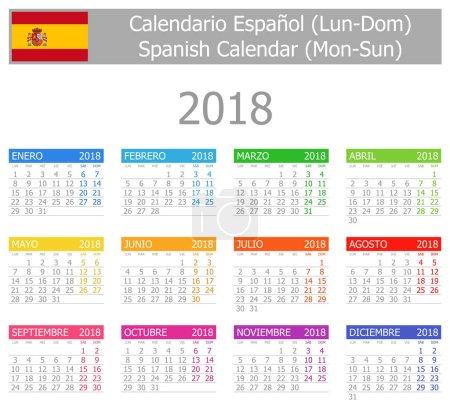 2018 Spanish Type-1 Calendar Mon-Sun