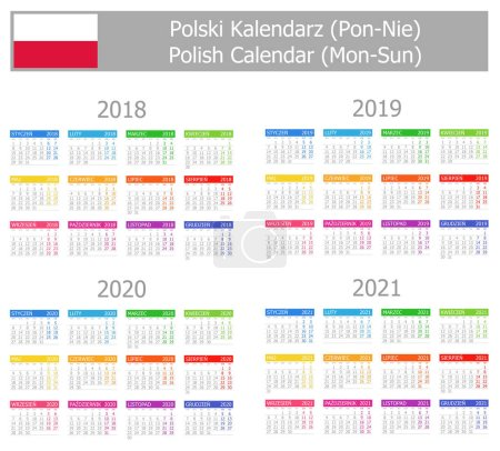 2018-2021 Polish Type-1 Calendar Mon-Sun