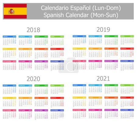 2018-2021 Spanish Type-1 Calendar Mon-Sun