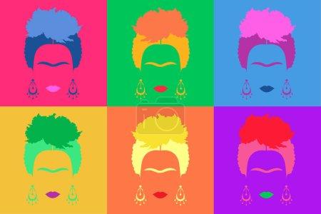 Frida Kahlo background Colored Vector Illustration Pop Art Style Andy Warhol