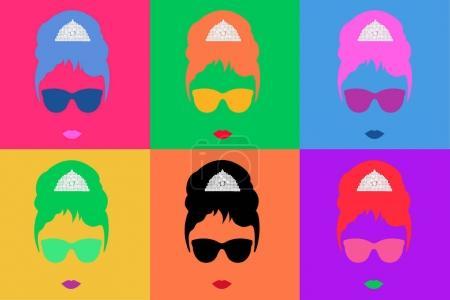 Одри Хепберн Цветные Векторные Иллюстрации
