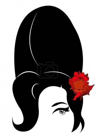 Illustration pour Amy Winehouse - version minimaliste, portrait vectoriel du chanteur de jazz, fond isolé ou blanc - image libre de droit