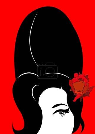 Illustration pour Amy Winehouse - version minimaliste, portrait vectoriel du chanteur de jazz, fond isolé ou rouge - image libre de droit