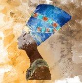 Egyptian old fresco icon Queen Nefertiti Vector portrait Profile mural painting style