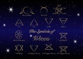 Golden Set of Witches runes wiccan divination symbols Ancient occult gold symbols isolated on stars dark night sky background Vector illustration