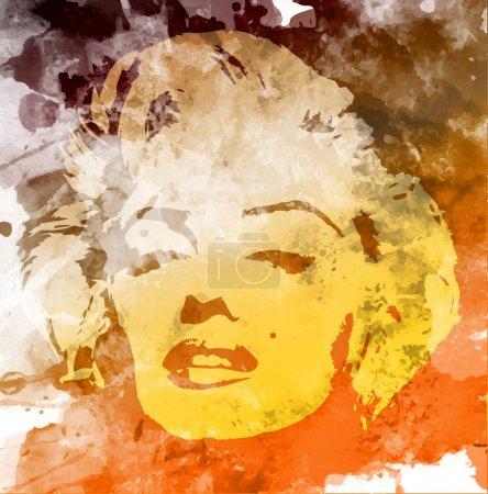 Мэрилин Монро векторный портрет акварелью