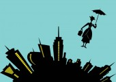 skyline city and silhouette girl floats with umbrella in his hand vector illustration on light blue background