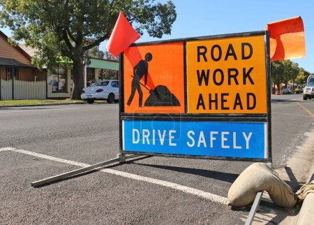 brightly coloured road work ahead signs