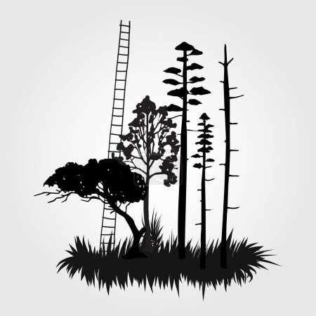 black silhouette forest island