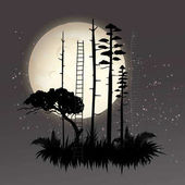 Landscape with black silhouette forest
