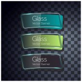 Glass shine template with banners on transparent background