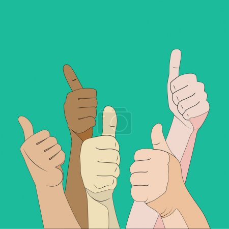 Human hands with thumbs up in on green background...