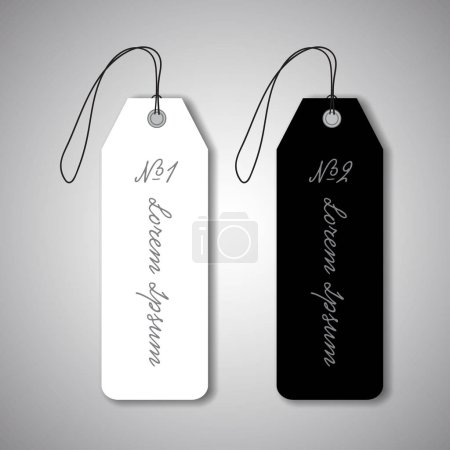 black and white hanging labels
