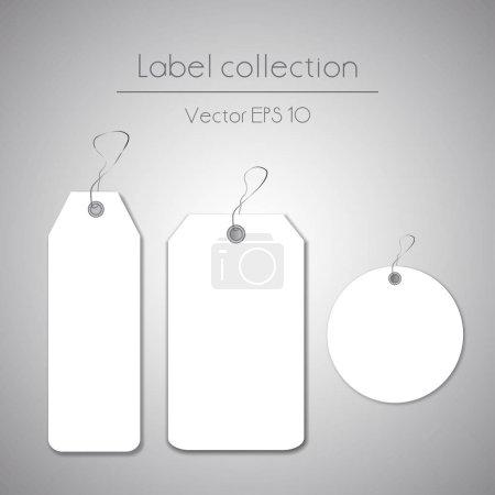 Ilustración de Colgante Blanco Etiquetas ilustración sobre fondo gris - Imagen libre de derechos