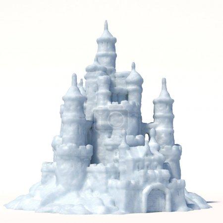 Photo pour Château de neige isolé sur fond blanc rendu 3d - image libre de droit