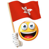 Emoji holding Hong Kong flag, emoticon waving national flag of Hong Kong 3d rendering