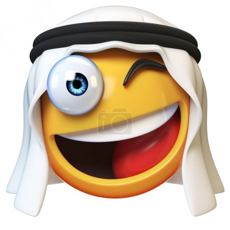 Winking Arab emoji isolated on white background, smiling Arabian winking face emoticon 3d rendering