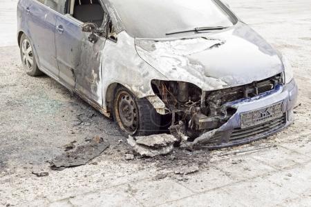 burned car in the street