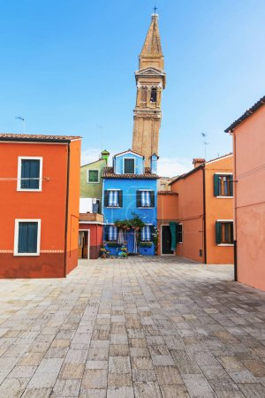 Colorful houses and the leaning tower of the church (Burano)