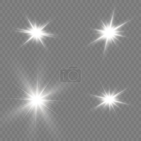 Bright Star. Transparent shining sun, bright flash...