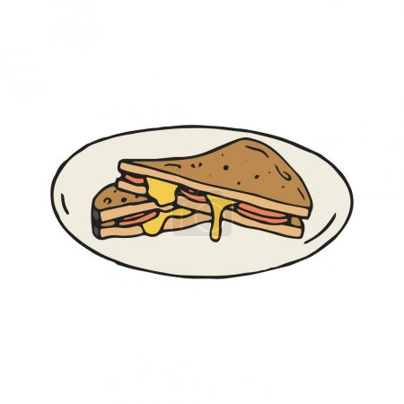 Cheese and ham sandwich vector illustration in