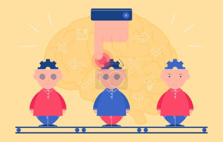 Vector illustration of people s minds under control