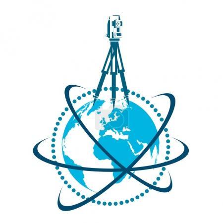 Geodesic device and globe symbol