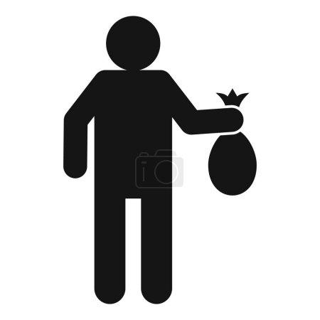 Illustration pour L'homme prend l'icône du sac poubelle. Illustration simple de l'homme prendre sac poubelle icône vectorielle pour la conception web isolé sur fond blanc - image libre de droit