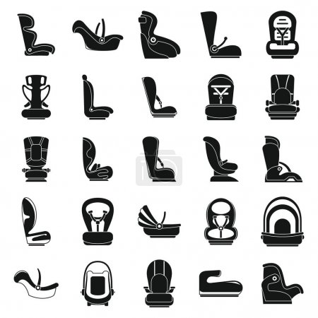 Safe baby car seat icons set, simple style