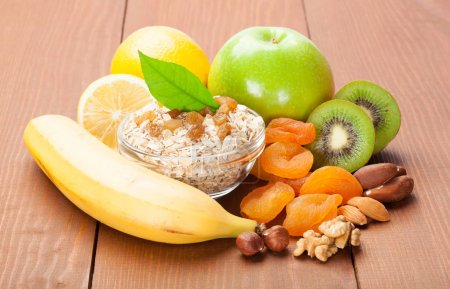 Fruits oat flakes and nuts