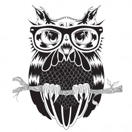 Illustration for Graphic drawing of owl in hipster glasses, tattoo design, vector illustration - Royalty Free Image