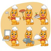 Set Cat Character Chef Holding Various Objects Vector Illustration Mascot Character