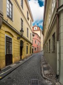 Narrow cobble street in Prague