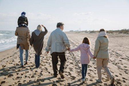 Foto de Vista posterior de la gran familia multigeneracional caminando a orilla del mar - Imagen libre de derechos