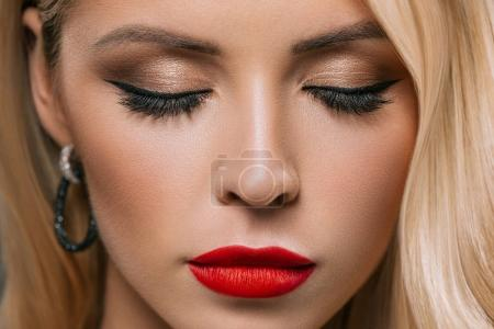 Photo for Close up of beautiful girl with makeup and closed eyes - Royalty Free Image