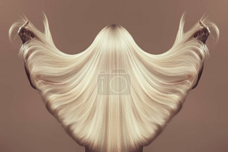 Photo for Back view of girl with beautiful long blonde hair isolated on beige - Royalty Free Image