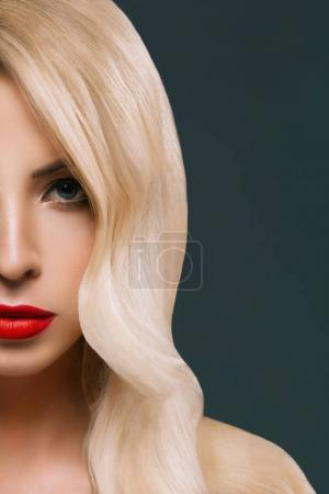 Photo for Cropped view of beautiful woman with makeup, isolated on grey - Royalty Free Image