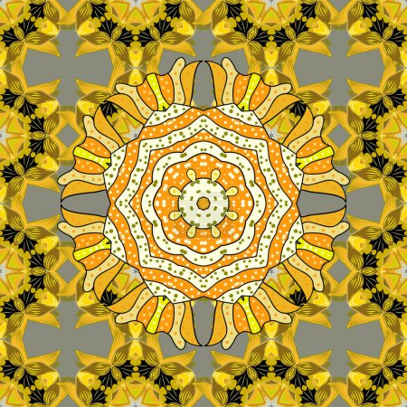 Photo pour Belle texture avec des mandalas aux couleurs chaudes. Grille . - image libre de droit