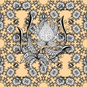Damask seamless pattern repeating background White beige floral ornament in baroque style Antique white repeatable sketch White element on beige background