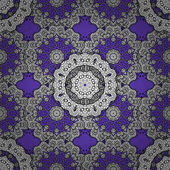 Floral pattern Sketch baroque damask Seamless vector background Golden elements on violet background Stylish graphic pattern